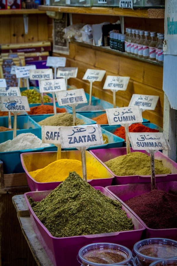 Kryddan shoppar, marknadsför i gammal stad av Jerusalem royaltyfri fotografi