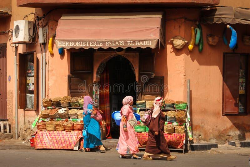 Kryddan shoppar marrakesh morocco royaltyfria bilder