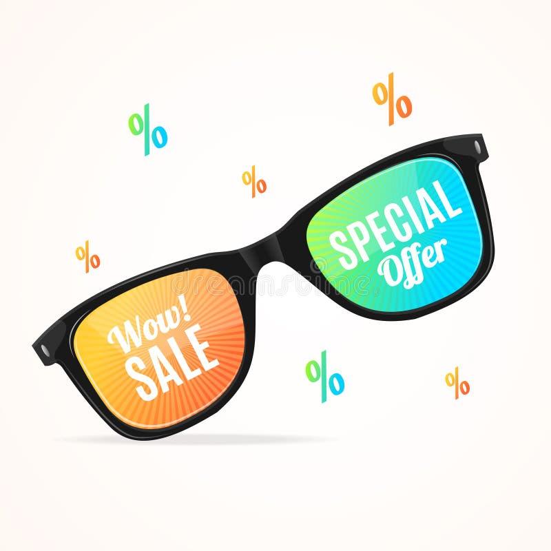 Kryddar realistisk solglasögon färgade linser 3d det Sale begreppet vektor royaltyfri illustrationer