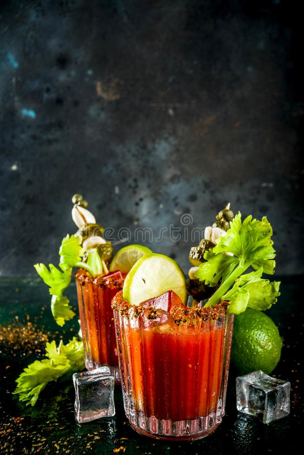 Kryddig blodiga mary coctail med garnering arkivbild