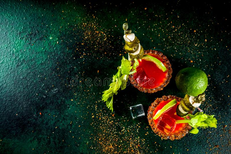 Kryddig blodiga mary coctail med garnering arkivbilder