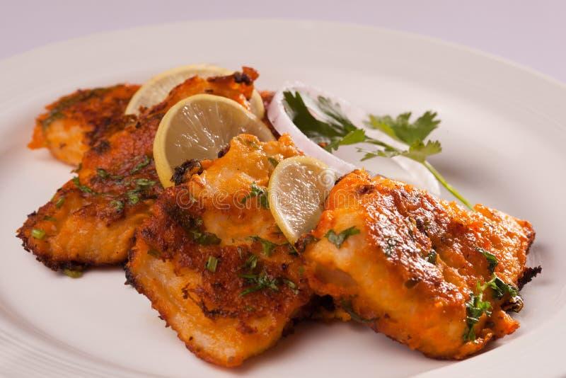 Kryddig fisk Tikka från Indien royaltyfri foto