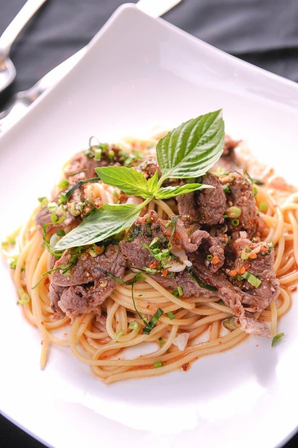 kryddig spagetti arkivfoton