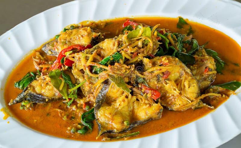 Kryddig stekt under omrörning fisk med peppar, chili och thai örter uppståndelse stekte fisken med thai örter, kryddig lokal mat, arkivbilder