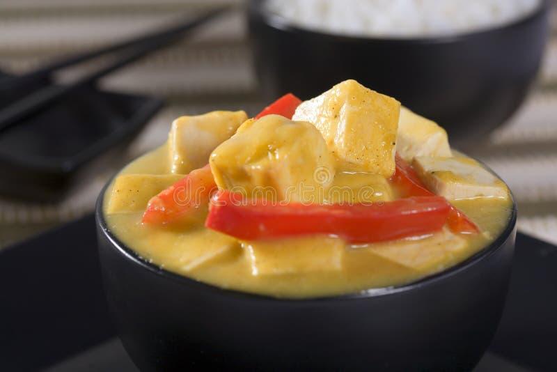 kryddig tofu för ljust rödbrun mangosås royaltyfri foto