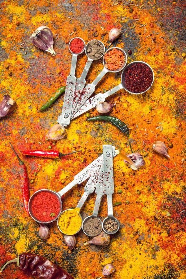 Kryddiga kryddor i bunkar med att mäta skedar fotografering för bildbyråer