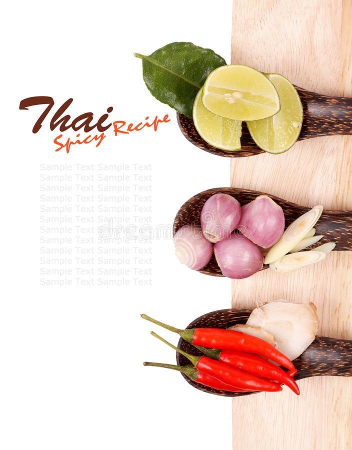 Kryddiga thailändska matingredienser arkivfoton