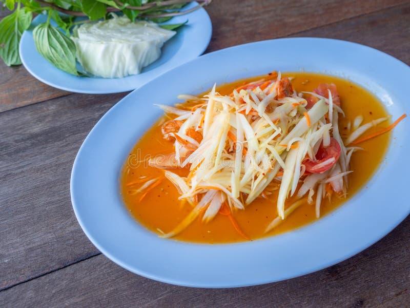 kryddigt övre för tät papayasallad fotografering för bildbyråer