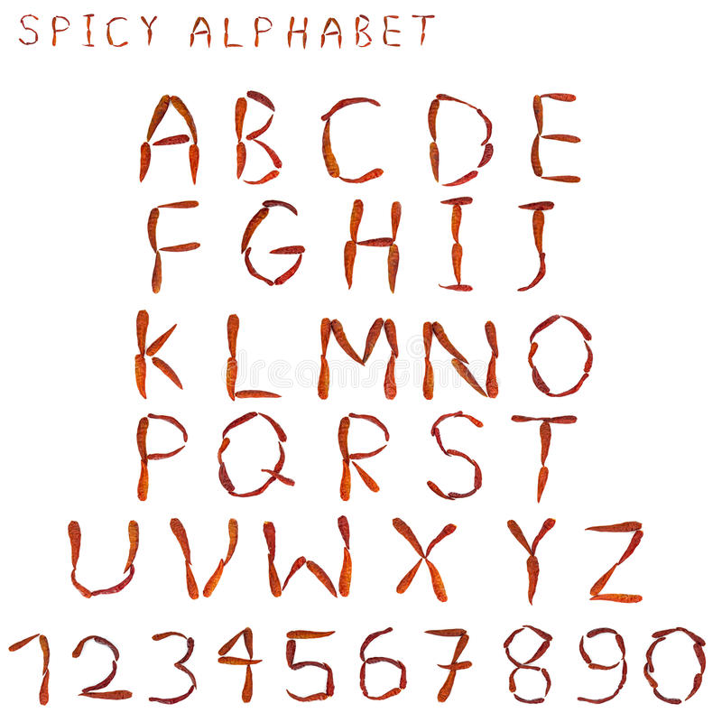 Kryddigt alfabet med bokstaven som stavas av torkad thai kryddig chilipeppar arkivfoto