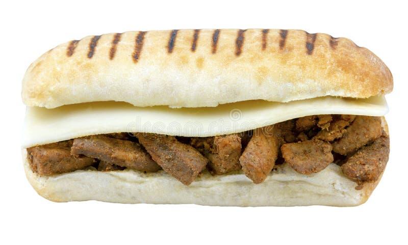 Kryddigt kött och ost Panini isolerade arkivbild