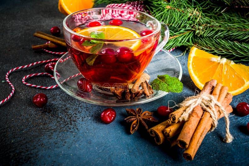 Kryddigt te för tranbär arkivfoton