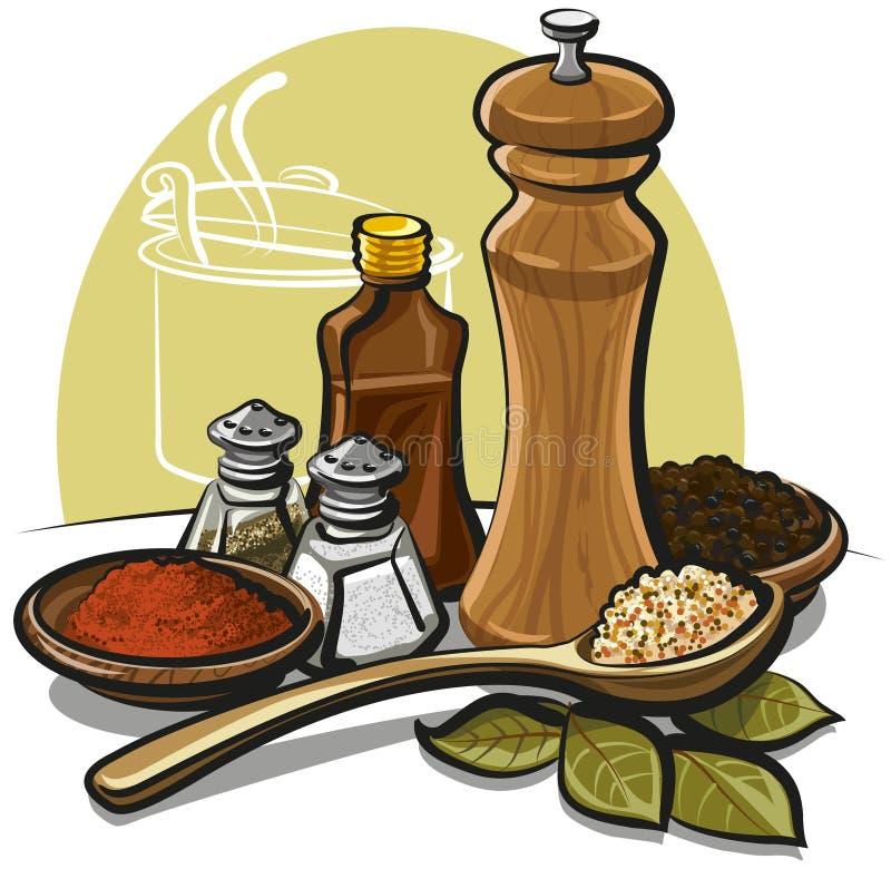 Kryddor vektor illustrationer