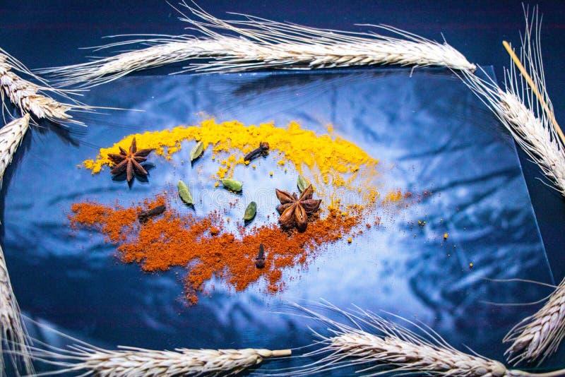 Kryddor av gul och r?d f?rg i flykten ?ver en genomskinlig krus royaltyfri fotografi