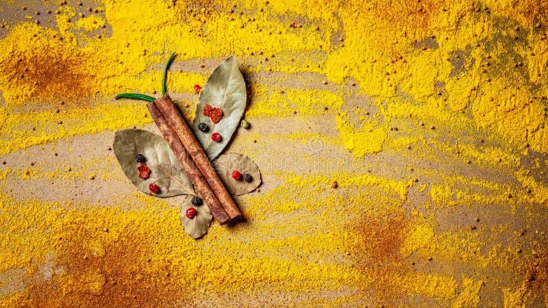 Kryddor och örter för websitetitelrader Smaktillsats spridd på tabellen i form av en fjäril, bakgrund för inpackning med mat royaltyfri bild