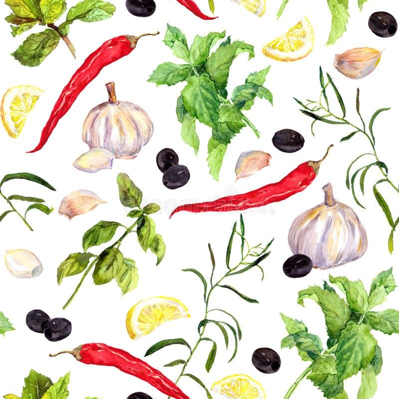 Kryddor och örter, sömlös matlagningmodell vattenfärg stock illustrationer