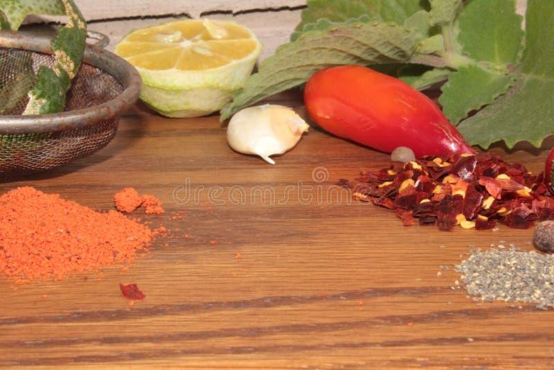 Kryddor och köksmaktillsats royaltyfria foton