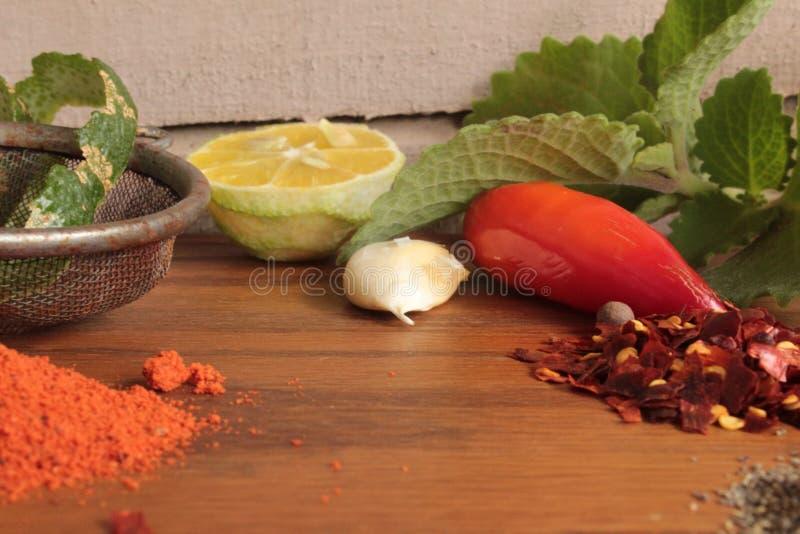 Kryddor och köksmaktillsats fotografering för bildbyråer