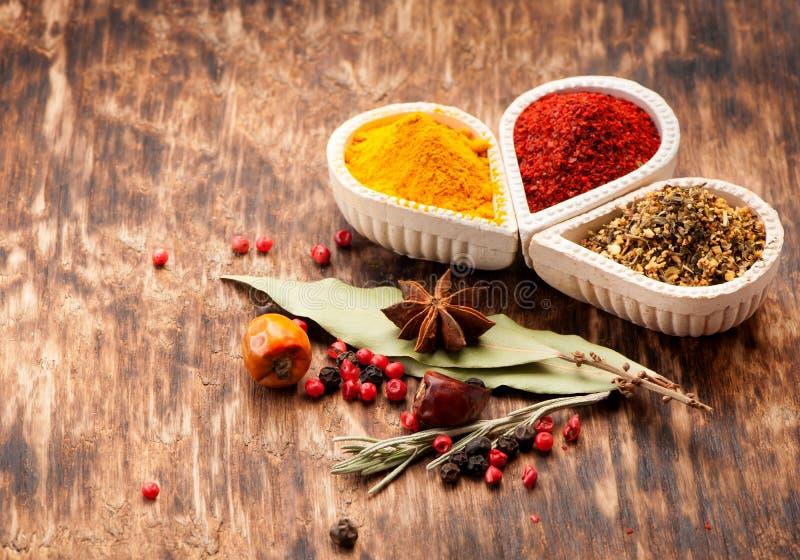 Kryddor och kryddigt arkivfoto