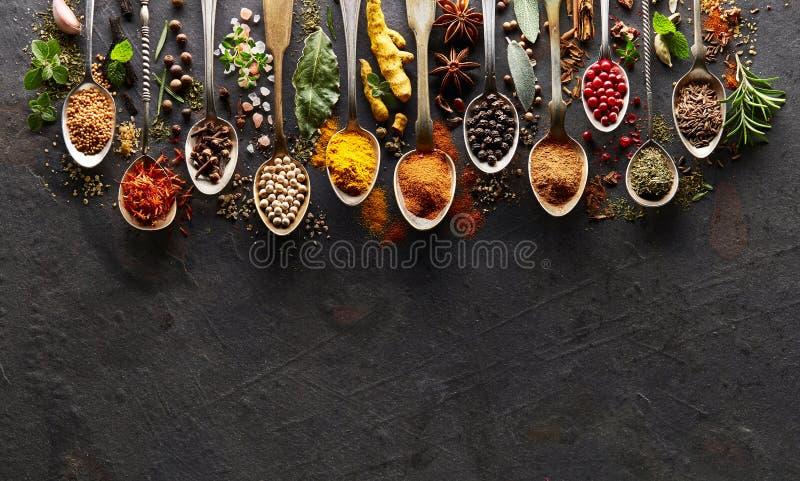 Kryddor på svart bräde fotografering för bildbyråer