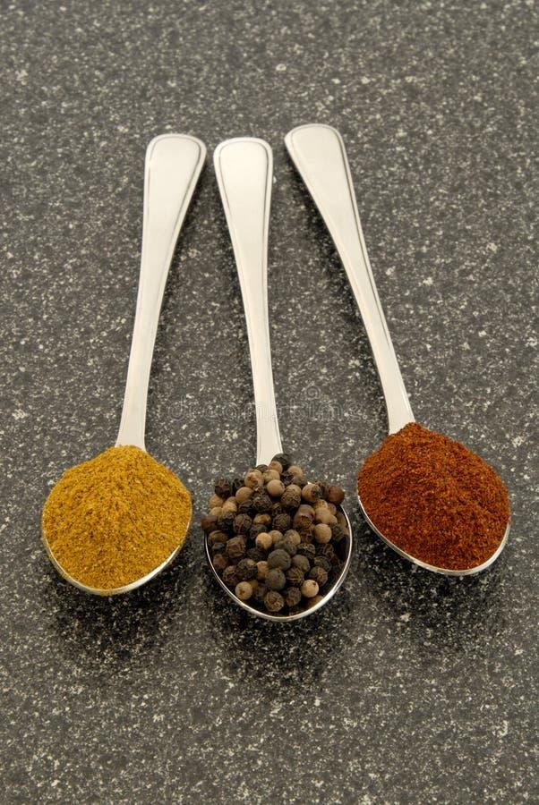 kryddor tre arkivfoton