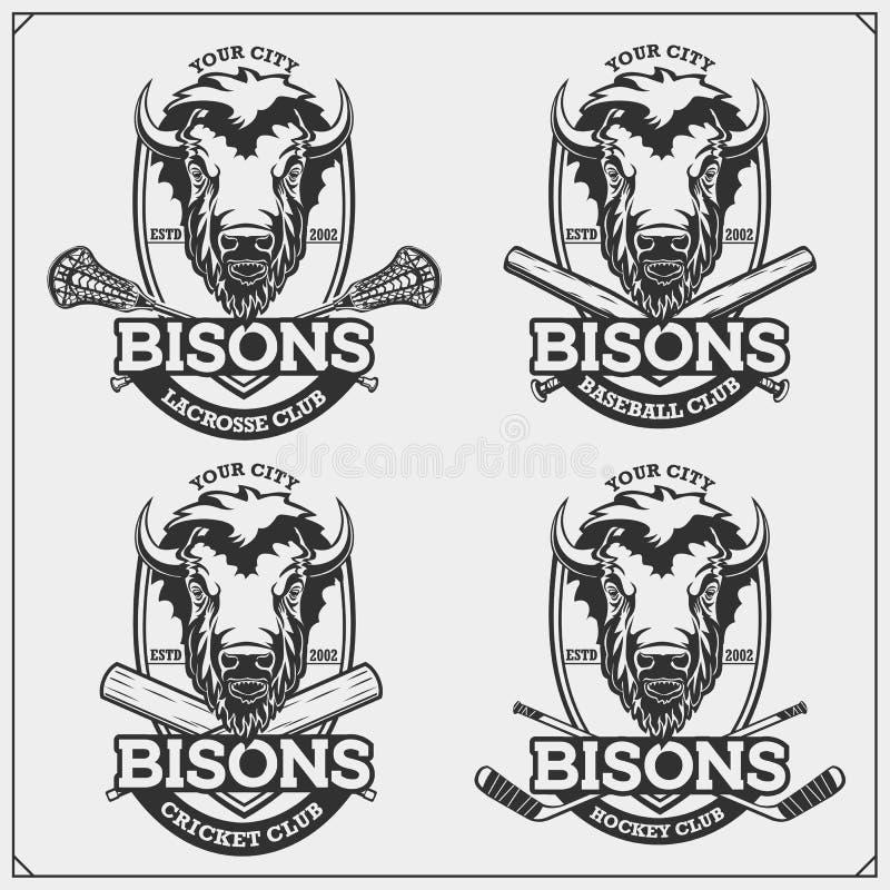 Krykiet, baseball, lacrosse, hokej etykietki i logowie, i Sporta klubu emblematy z żubrem Druku projekt dla koszulek royalty ilustracja