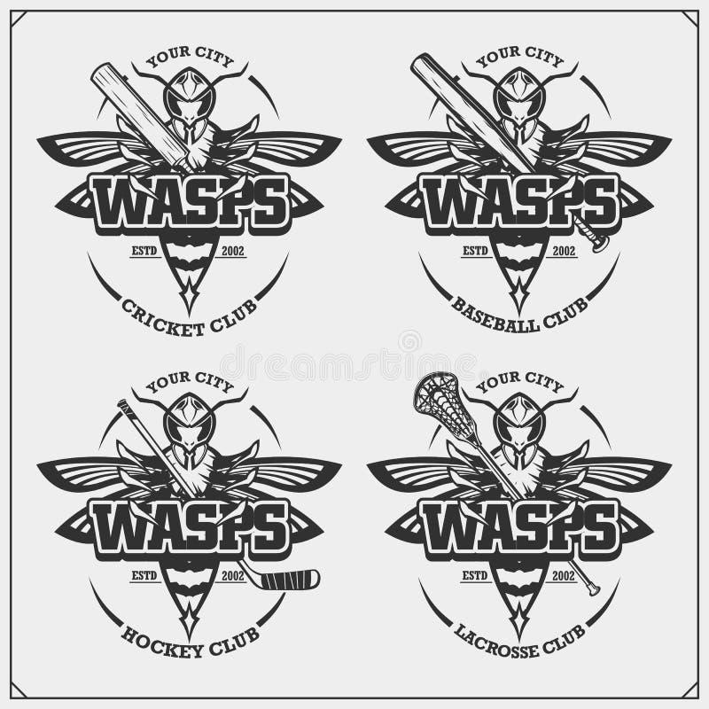 Krykiet, baseball, lacrosse, hokej etykietki i logowie, i Sporta klubu emblematy z osą Druku projekt dla koszulki royalty ilustracja