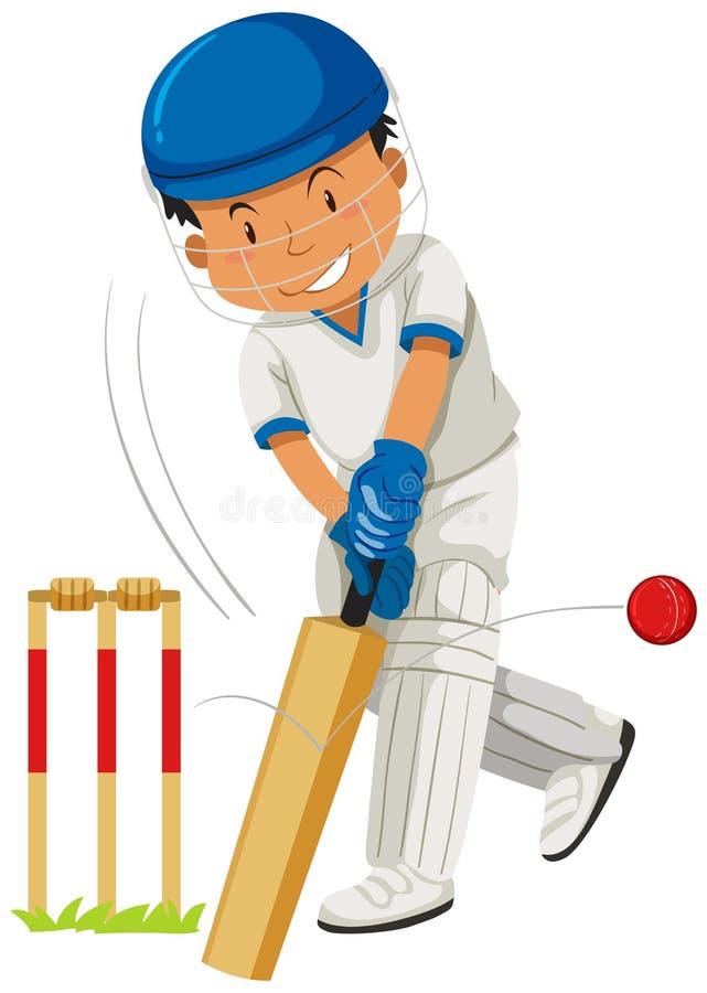 Krykieta gracza ciupnięcia piłka z nietoperzem ilustracja wektor