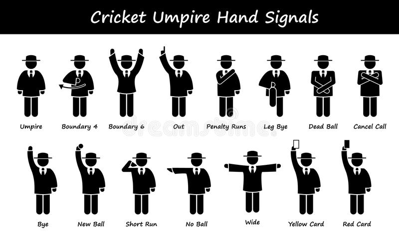 Krykieta superarbitera arbitra ręki sygnały Cliparts ilustracja wektor