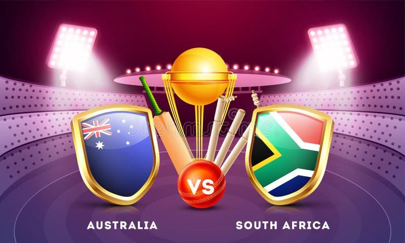 Krykieta zapałczany uczestniczy kraj Australia Vs Południowa Afryka z złotym trofeum ilustracja wektor