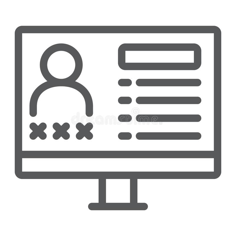 Kryminalna baza danych linii ikona, dane i przestępstwo, monitoru znak, wektorowe grafika, liniowy wzór na białym tle royalty ilustracja