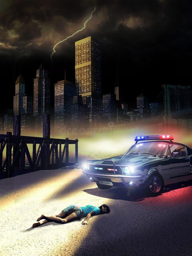 kryminalna scena ilustracji