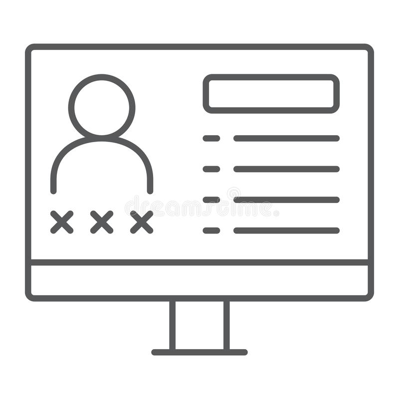Kryminalnego baza danych cienka kreskowa ikona, dane i przestępstwo, monitoru znak, wektorowe grafika, liniowy wzór na białym tle ilustracja wektor