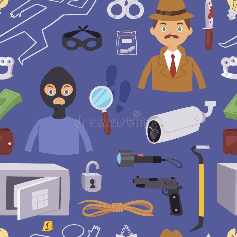Kryminalnej złodziej kreskówki charakteru detektywistyczny projekt z wyposażenie oficera śledczego polici mężczyzna projekta wekt royalty ilustracja