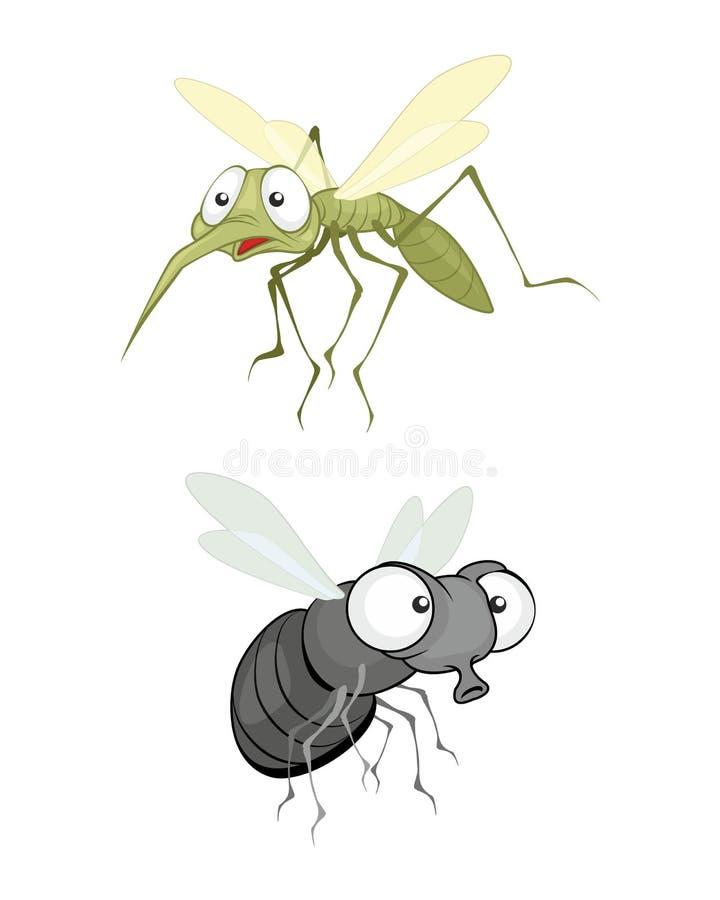 Kryp, fluga och mygga stock illustrationer