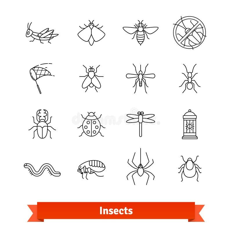 Kryp och den tunna linjen symboler för plågautrotning ställde in stock illustrationer