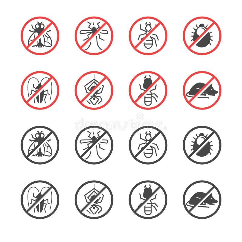 Kryp- och plågakontrollservice Anti-plågaemblem och emblem stock illustrationer