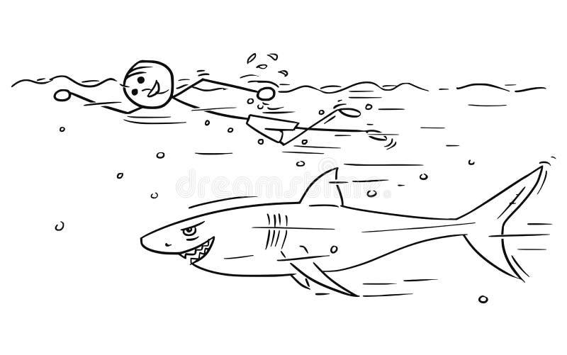 Krypande för simning för man för tecknad filmvektorpinne avslappnande med hajbad stock illustrationer
