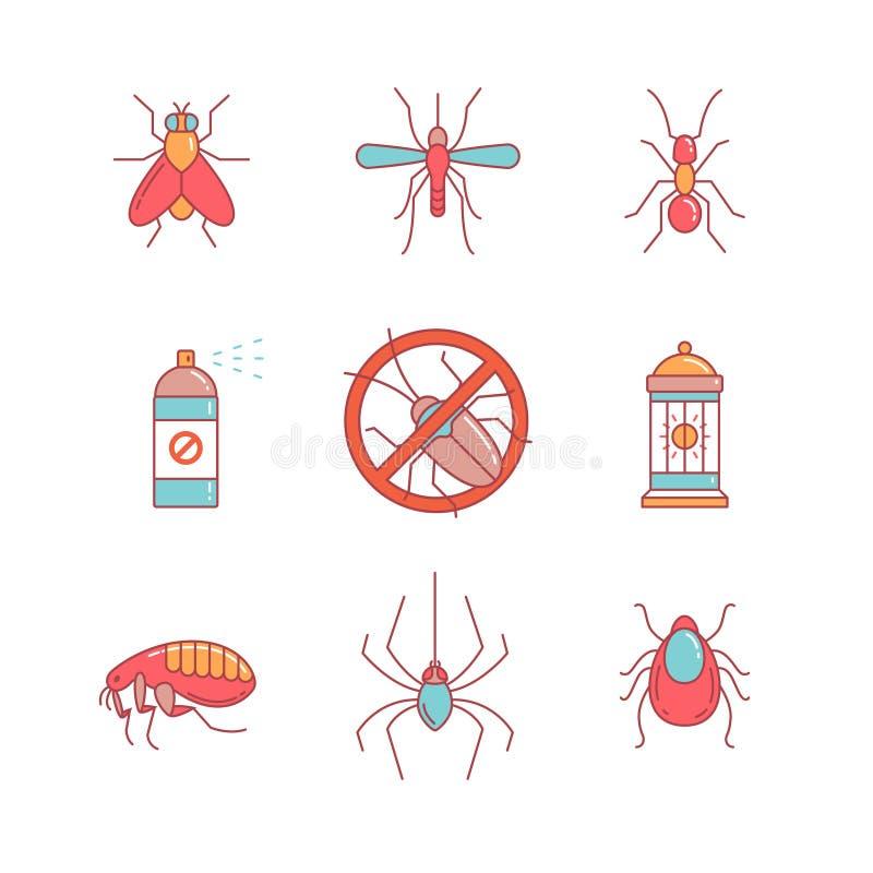 Krypkontroll, anti-plågaemblem, insekticid vektor illustrationer
