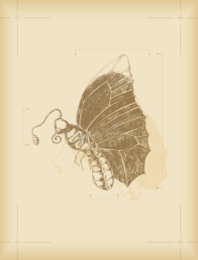 krypmekanikern skissar stock illustrationer