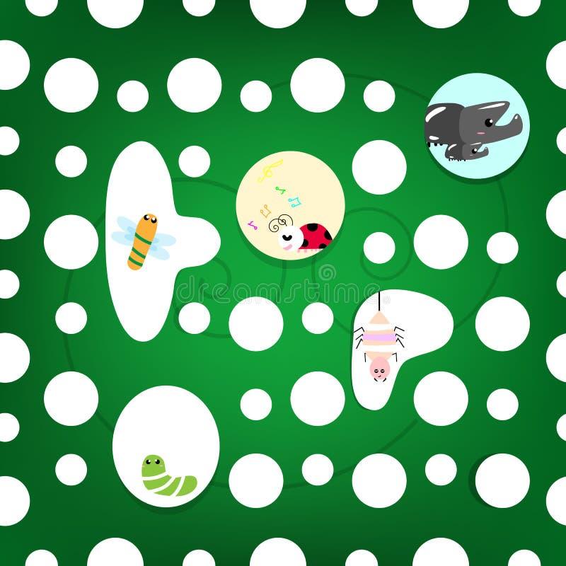 Krypsamling i bladhemmet, djur djurlivkreativitetcarto stock illustrationer