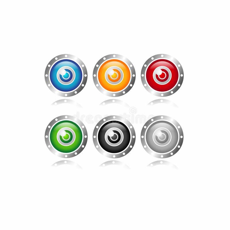 Krypta, bezpieczny bank, wartości ochrona, gacenie w ilustracyjnym logo ikony secie obraz royalty free