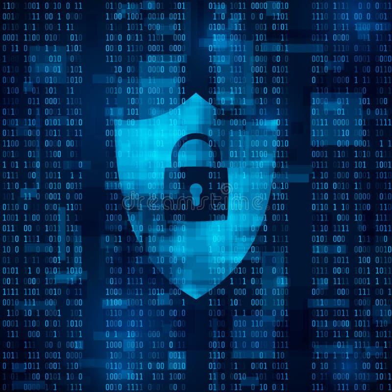 kryptering av information firewall - dataskydd sysrem av nätverkssäkerhet abstrakt bakgrundsteknologivektor royaltyfri illustrationer