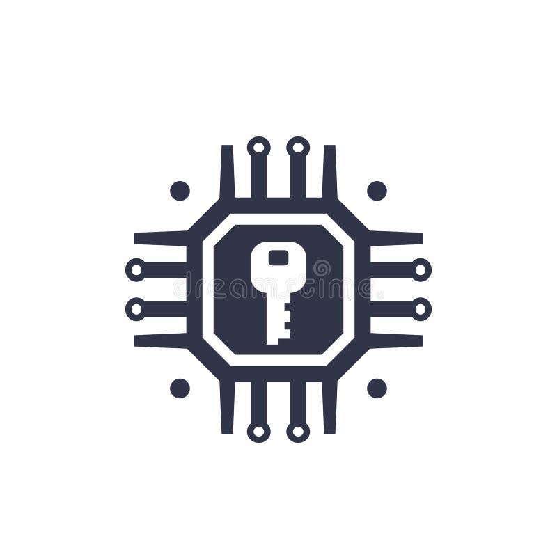 Kryptering kryptografi, symbol för dataskydd royaltyfri illustrationer