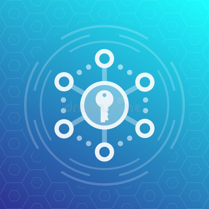 Kryptering säkrar tillträdesvektorsymbolen stock illustrationer