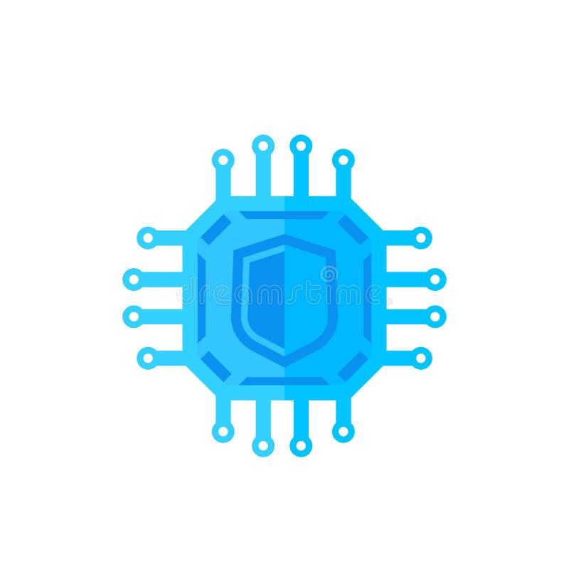 Kryptografi cybersäkerhetssymbol på vit stock illustrationer