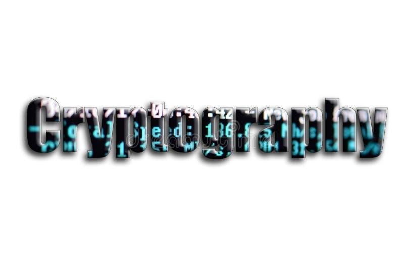 kryptografi Inskriften har en textur av fotografiet, som visar cryptocurrencyen som bryter programvaruskärmen vektor illustrationer