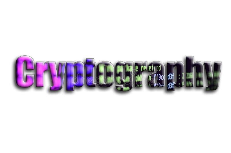 kryptografi Inskriften har en textur av fotografiet, som visar cryptocurrencyen som bryter programvaruskärmen stock illustrationer