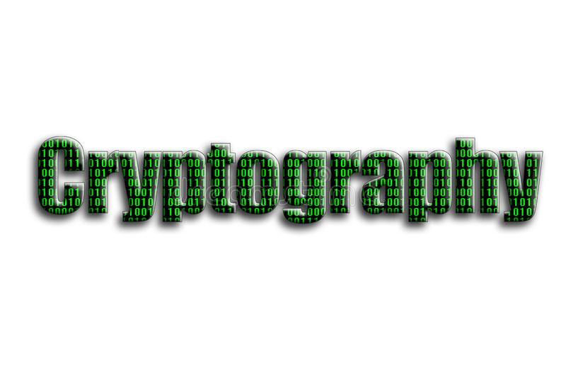 kryptografi Inskriften har en textur av fotografiet, som visar den gröna binära koden royaltyfri illustrationer