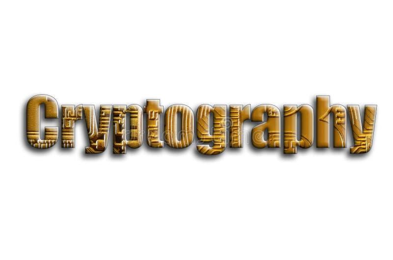 kryptografi Inskriften har en textur av fotografiet, som visar flera bitcoins stock illustrationer