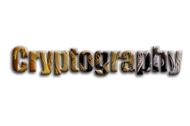 kryptografi Inskriften har en textur av fotografiet, som visar flera bitcoins royaltyfri illustrationer